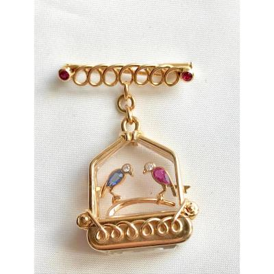 Uti Bird Brooch Watch In Cage 1950s Yellow Gold 18 Carats