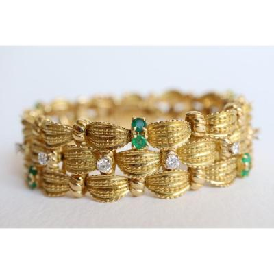 Bracelet Circa 1960 Articulated Yellow Gold 18 Carat Pattern Braids Emerald Diamonds