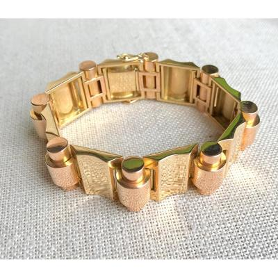 Tank Bracelet Around 1940 In 2 Golds (yellow And Pink) 18 Carats