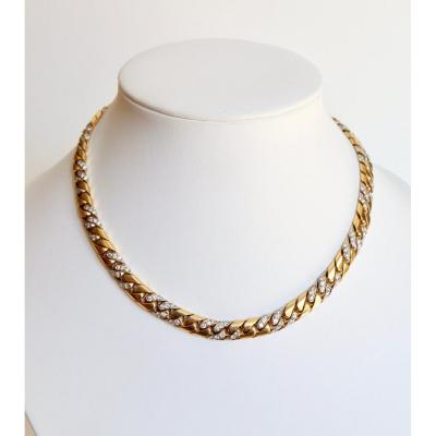 Fred Necklace In Yellow Gold 18 Carats And Diamonds Knit Gourmette