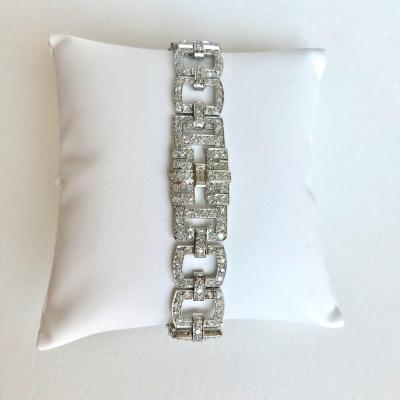 Bracelet In Diamonds And Platinum (950 Thousands) 1930 Art Deco