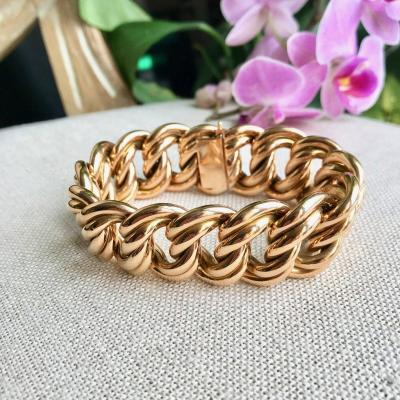 Bracelet 1970 Yellow Gold 18 Kt Double American Mesh