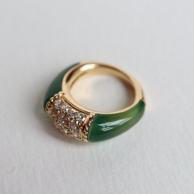 Van Cleef & Arpels 18 Kt Yellow Gold Philippine Ring, Diamonds And Chrysoprases