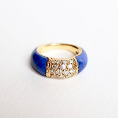Van Cleef & Arpels 18 Kt Yellow Gold Philippine Ring, Diamonds And Lapis Lazuli