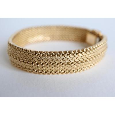 Bracelet In Yellow Gold 18 Kt 1960 Polish Stitch