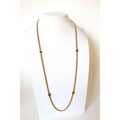 Fred Long Necklace In 18 Kt Yellow Gold And Chrysoprases