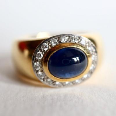 Wempe Ring In Yellow Gold And 18k White Gold Sapphire Cabochon And Diamonds