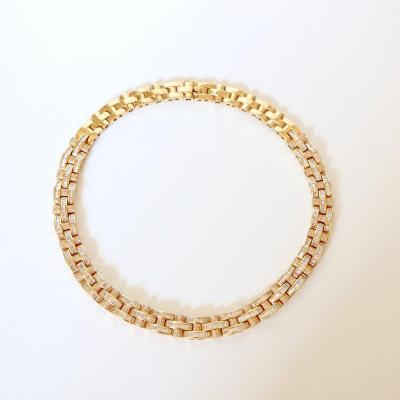 Tank Necklace 18-carat Yellow Gold Paved With Diamonds
