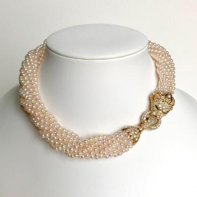 Van Cleef & Arpels Barquerolles Necklace With 11 Rows Of Pearls Lion Head Set With Diamonds