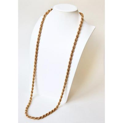 Important Twisted Two Gold Long Necklace 18 Carats Circa 1960