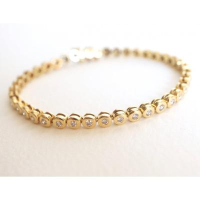 Line Bracelet In 18k Yellow Gold And Diamonds