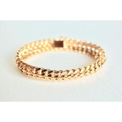 Vintage Bracelet Around 1960 In 18 Kt Yellow Gold Doub Curb Chain