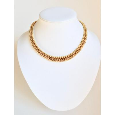 Boucheron Necklace In 18 Carat Yellow Gold Forming A Ribbon Of 3 Rows Of Gold Balls.