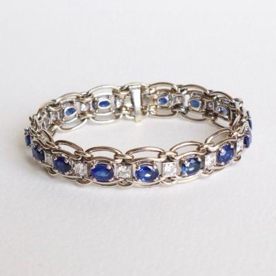 Mauboussin Bracelet 18 Kt White Gold, Sapphires And Diamonds