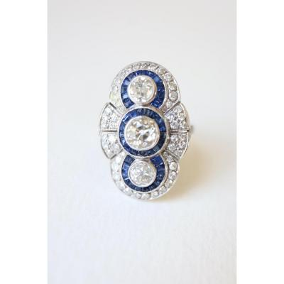 Marquise Ring Circa 1930 In Platinum Set With Diamonds And Calibrated Sapphires