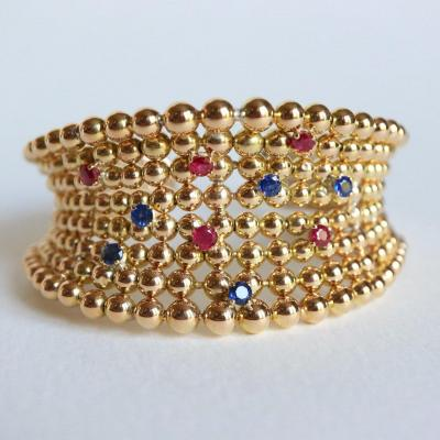 Boucheron Semi-rigid Open Balls Bracelet In 18k Yellow Gold, Sapphires And Rubies