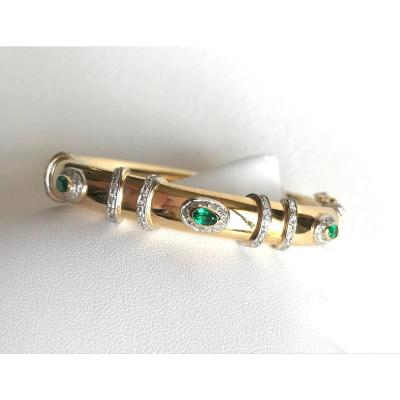 Cartier Articulated Rigid Bracelet Yellow Gold, White Gold And Emeralds