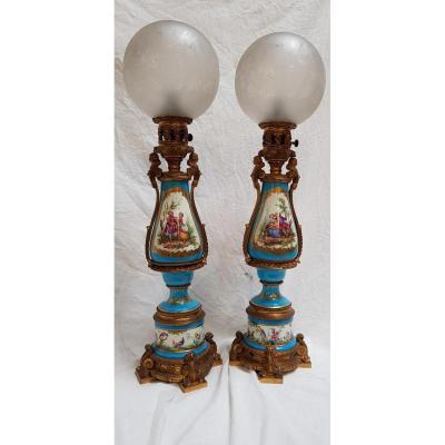 Une Paire De Lampes Style Sevres