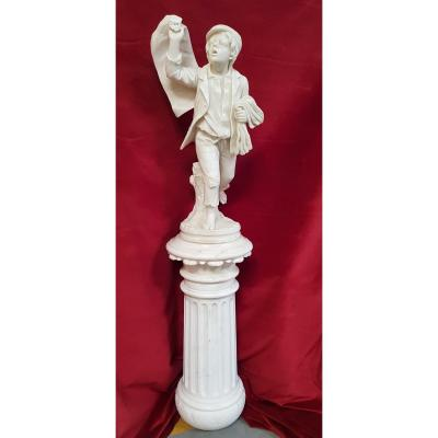 Newsboy Marble Sculpture