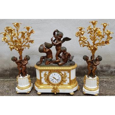 Beautiful Large Clock With Candlesticks