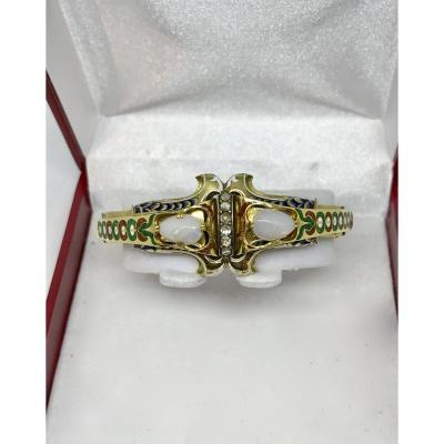 Bracelet en or et émail