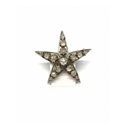 Broche étoile Or Argent  Diamants