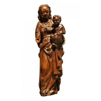Vierge A l'Enfant En Buis Sculpté, Flandres, Epoque XVIIeme