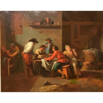 Scène De Taverne, Ecole Hollandaise Du XVIIIème