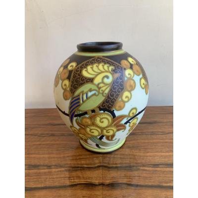 Vase Art Deco  Keramis    D1130  Signé W (Jan Wind) 1927 (vases Art Déco 1930)
