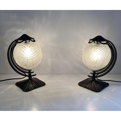 """Paire de lampes Art Deco """"Boules aux turbans"""" Hanots et fer forgé  (cat: lampes art déco 1930)"""