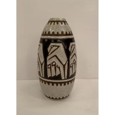 Rare Vase Art Deco Charles Catteau/keramis Grès De 1924 Signé (vases Art Déco 1930)