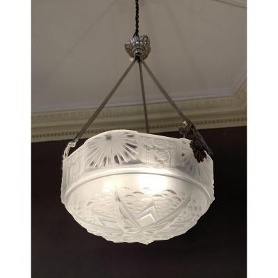 Art Deco Nickel Bronze Suspension Signed Müller Frères (cat: Chandelier / Ceiling Lamp Art Deco 1930)