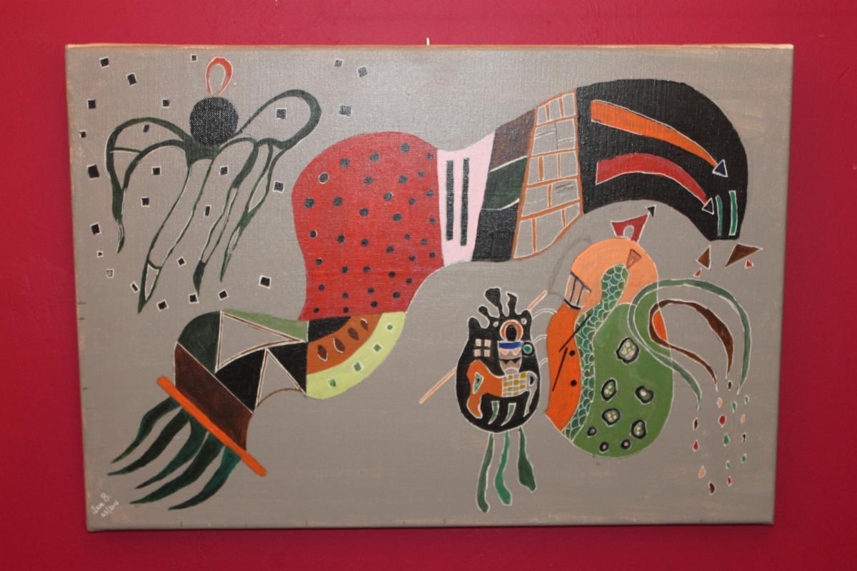 Tableau Acrylique Sur Toile Signé Anne Bastin