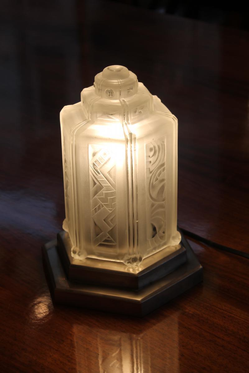 Lampe Art Deco Signée Sabino Epoque 1930 (catégorie: Lampes Art Déco)
