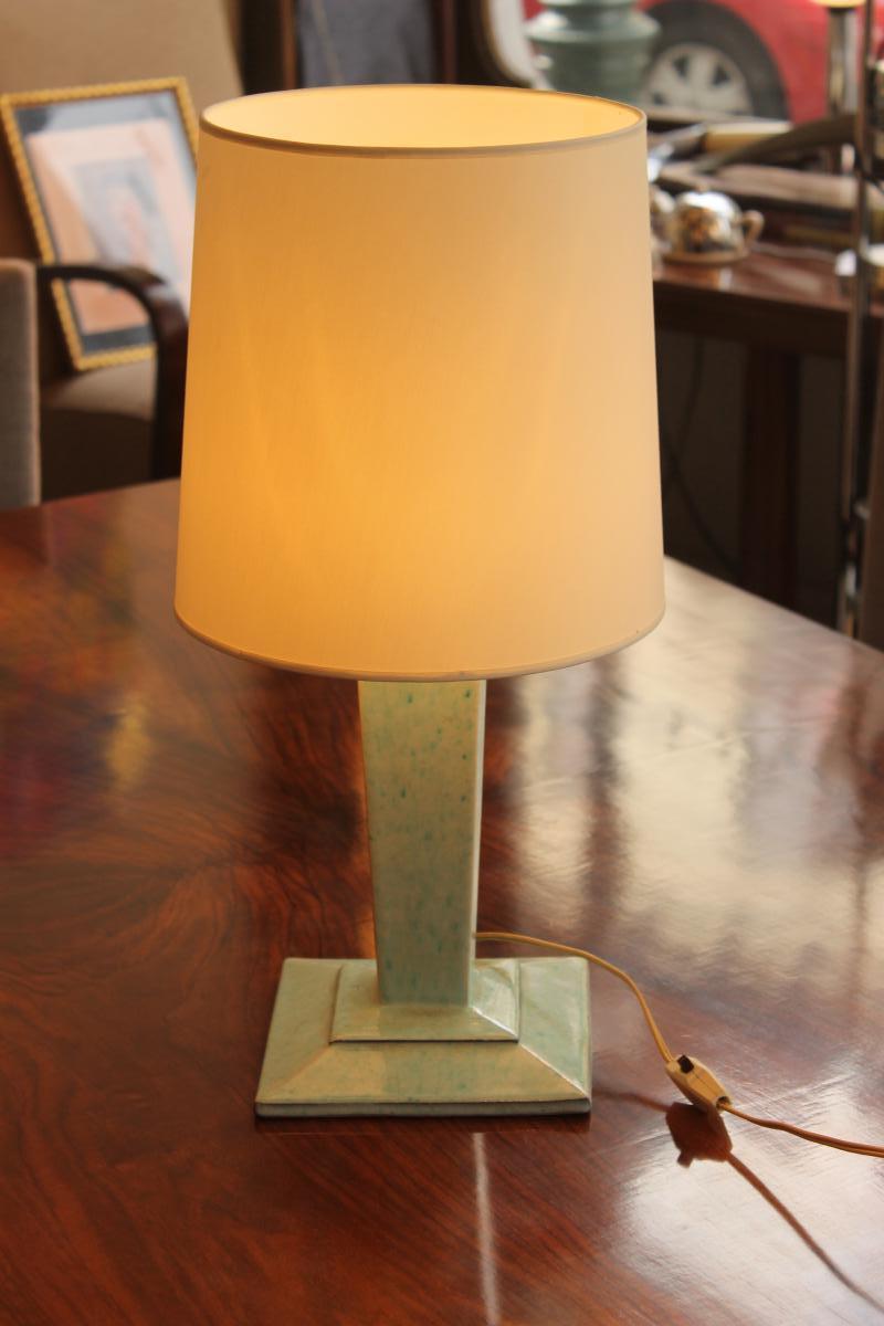 Lampe De Table Art Deco En Céramique De Boulogne Signée André Fau (cat: Lampes Art Déco 1930)