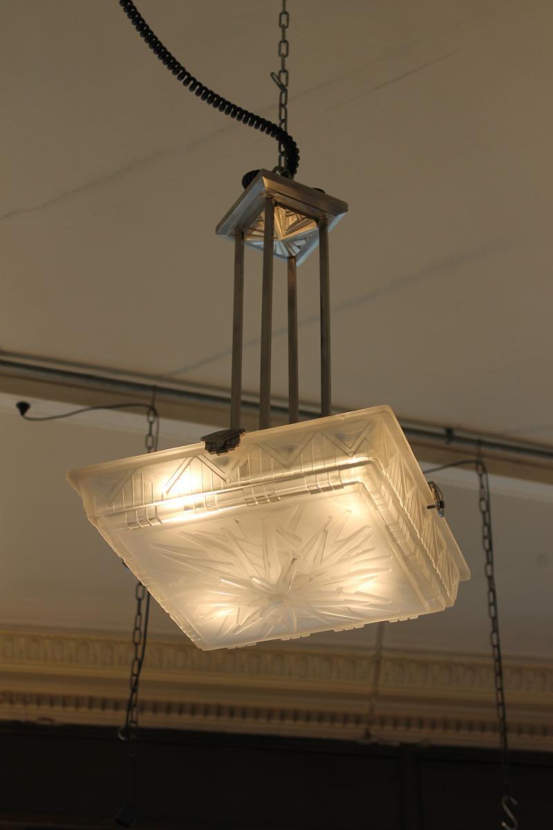 Art Deco Chandelier Müller Frères Lunéville (cat: Ceiling Lamp Art Deco 1930)