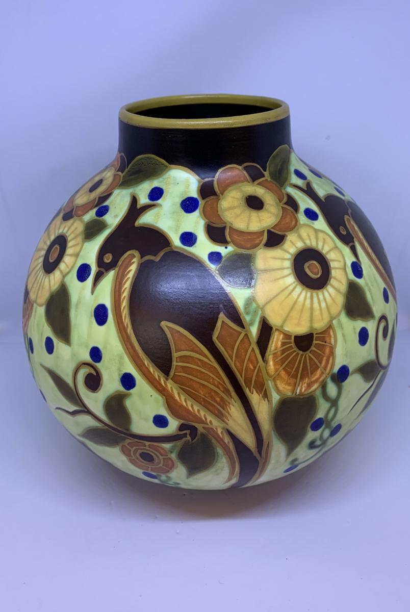 Vase Art Deco Signé Boch Keramis Probablement Léon Delfant (cat: Vases Art Déco 1930)