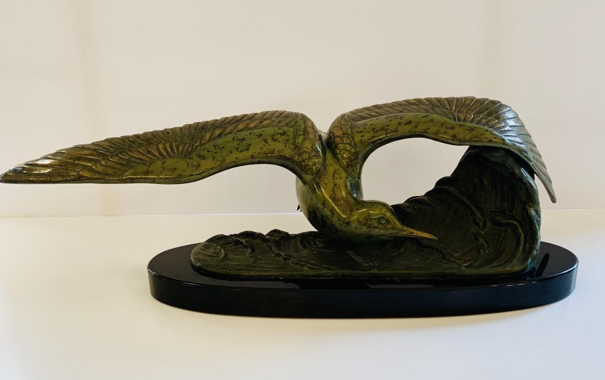 Sculpture Art Deco en régule à patine verte signée Irénée Rochard (cat : bronze statues 1930)