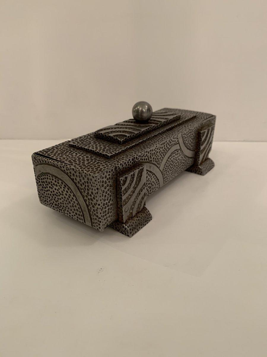 Boîte / Vide-Poches Art Deco Métal Ouvragé Signé Malrin (cat: Boîtes Art Déco 1930)