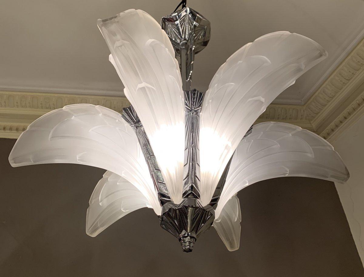Lustre Art Deco à 6 Cornets Signé Ejg (jean Gauthier) 1095 France (lustres 1930 Art Déco)