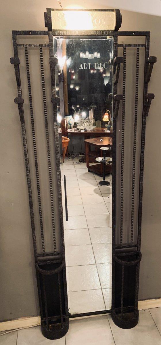 Portemanteau Art Deco Miroir Central Et Verrerie Sabino(dans Le Goût De Brandt - Art Déco 1930)
