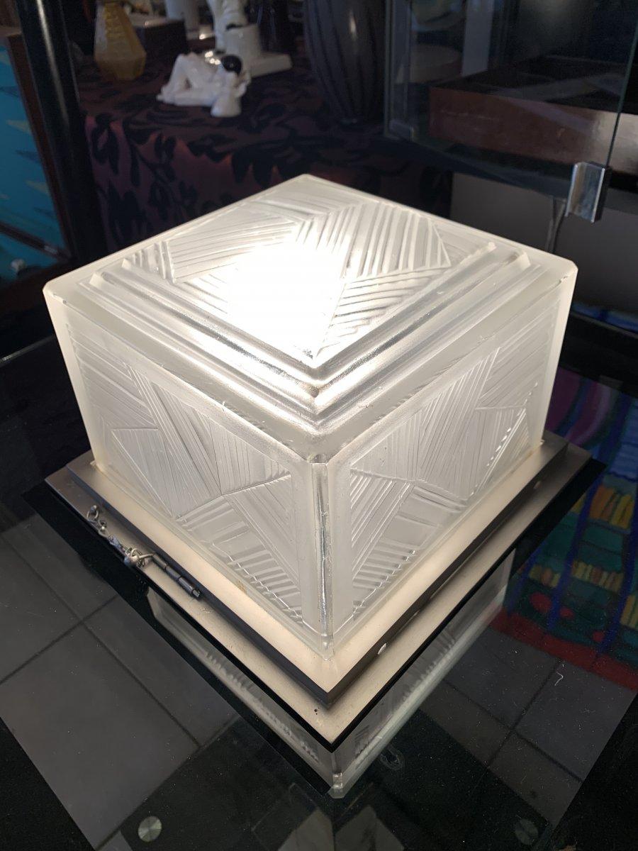 Plafonnier Art Déco Cubique Signé Sabino 4846 France (cat: Plafonniers Art Deco 1930- Lustre)
