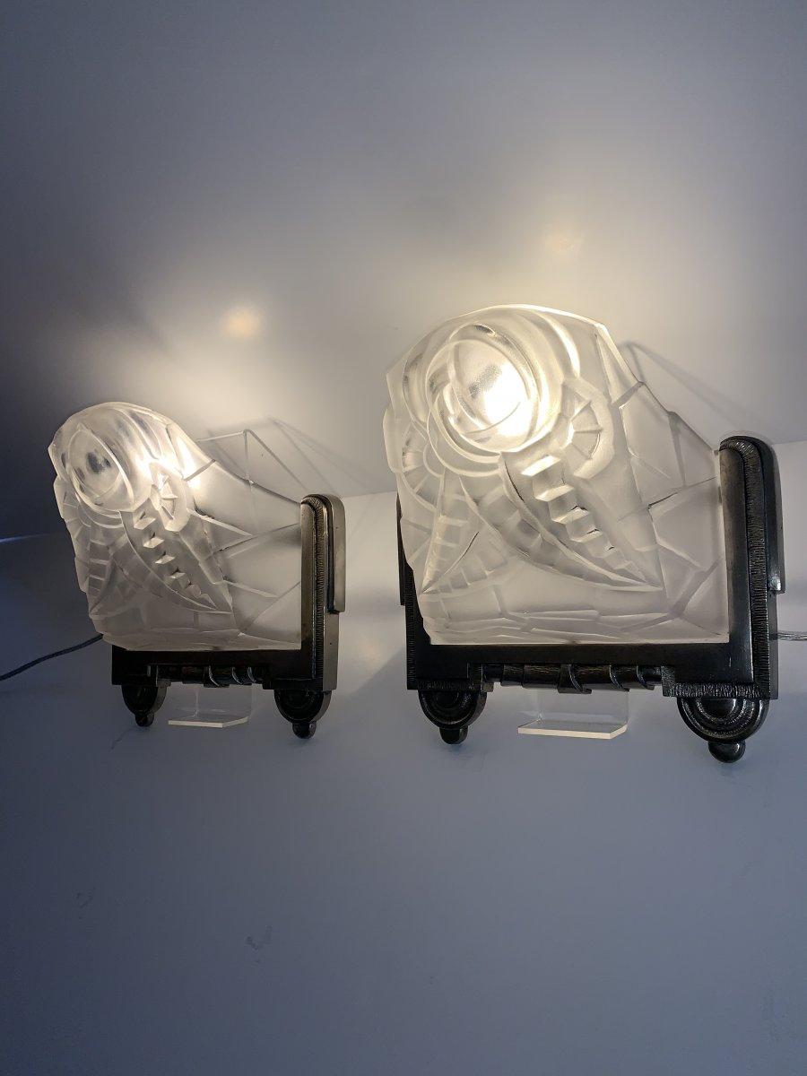 Paire d'Appliques Art Déco Degué Numérotées [bronze Nickelé] (cat: Applique Art Deco 1930)