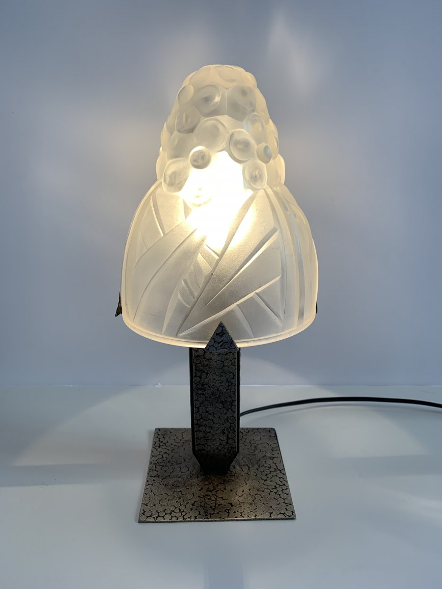 Lampe De Table Ou De Bureau Art Déco Degué Pied Fer Forgé (lampes Art Deco 1930)