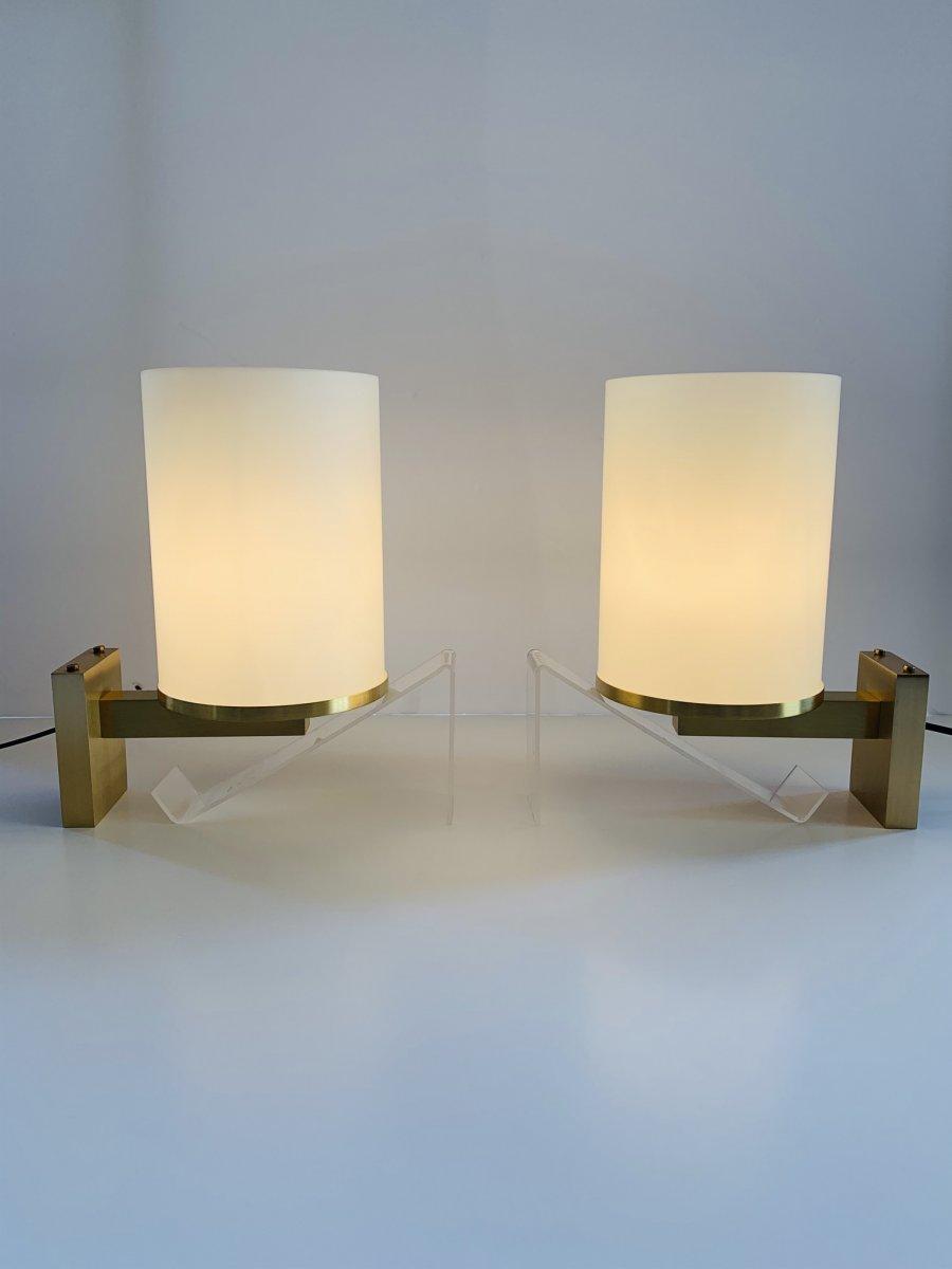 Paire d'Appliques Art Déco à Cylindres De Verre  Signées Perzel (applique Art Deco 1930) -photo-2