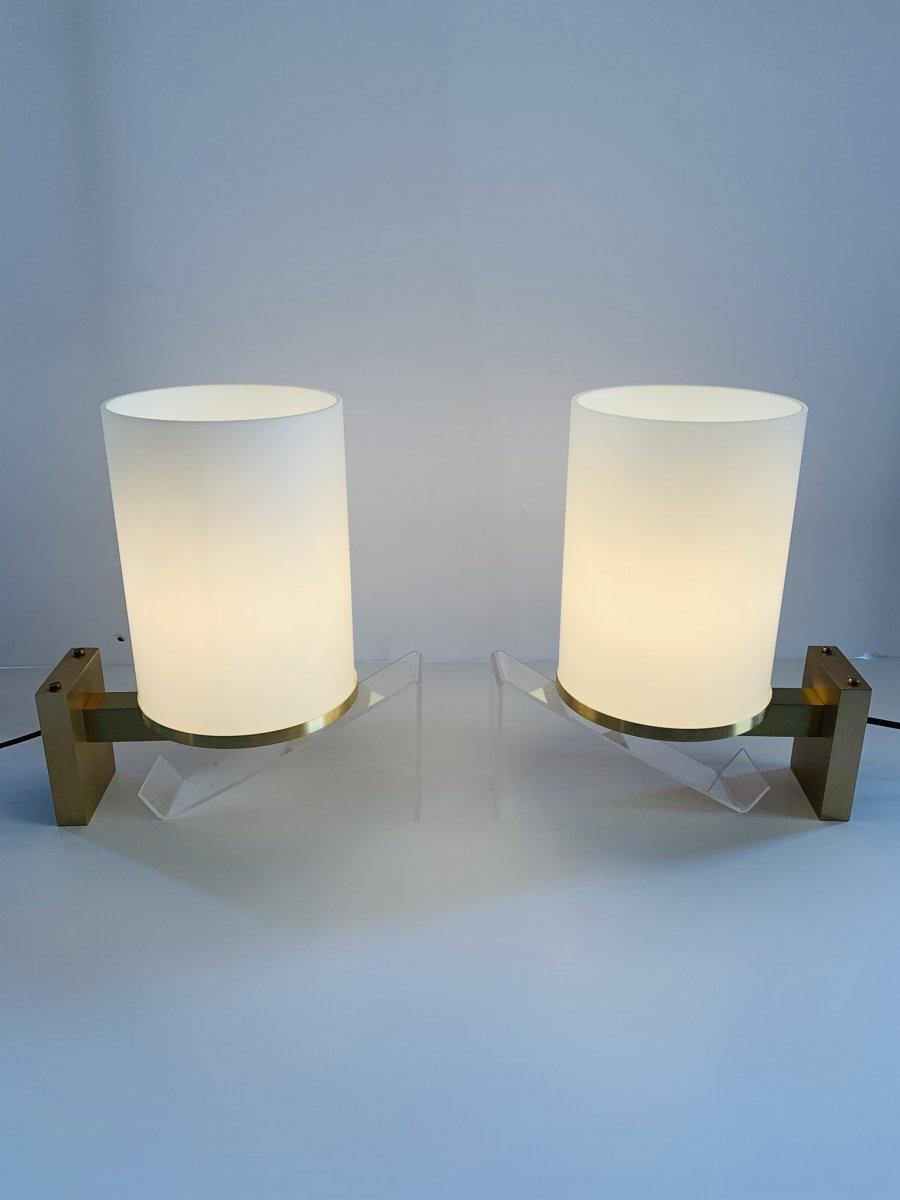 Paire d'Appliques Art Déco à Cylindres De Verre  Signées Perzel (applique Art Deco 1930) -photo-3