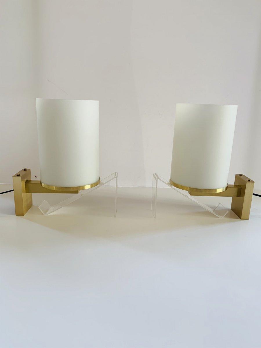 Paire d'Appliques Art Déco à Cylindres De Verre  Signées Perzel (applique Art Deco 1930) -photo-8