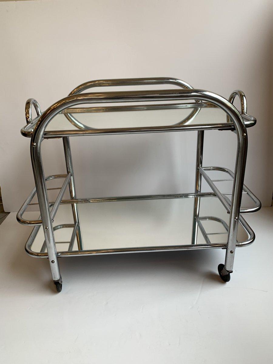 Art Deco Chrome And Mirror Service From Mallet-stevens (art Deco Bar / Desserts 1930)