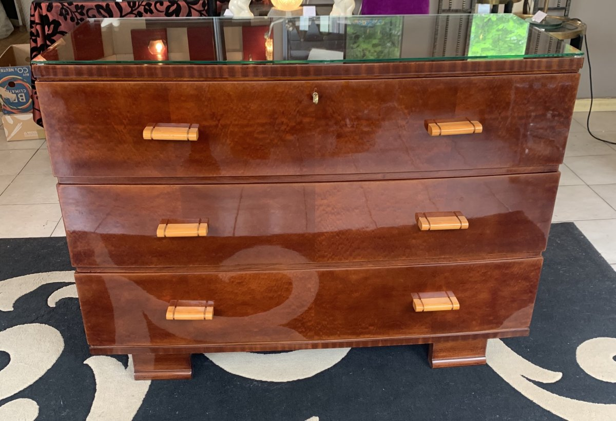 Art Deco Frères De Coene Commode In Polished Mahogany Buffer [pair Available!] (art Deco Commodes 1930)