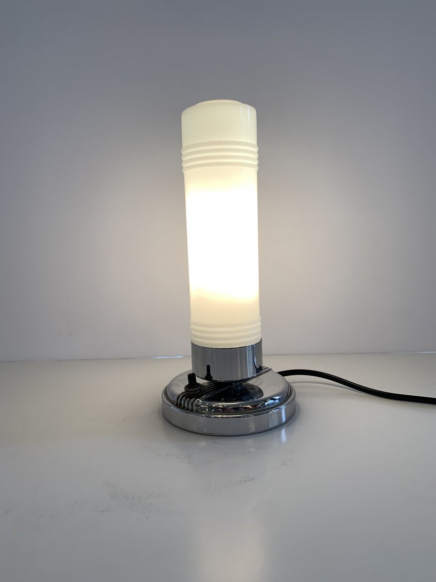 Lampe Art Déco moderniste à poser/de chevet type Streamline (lampes art deco 1930)
